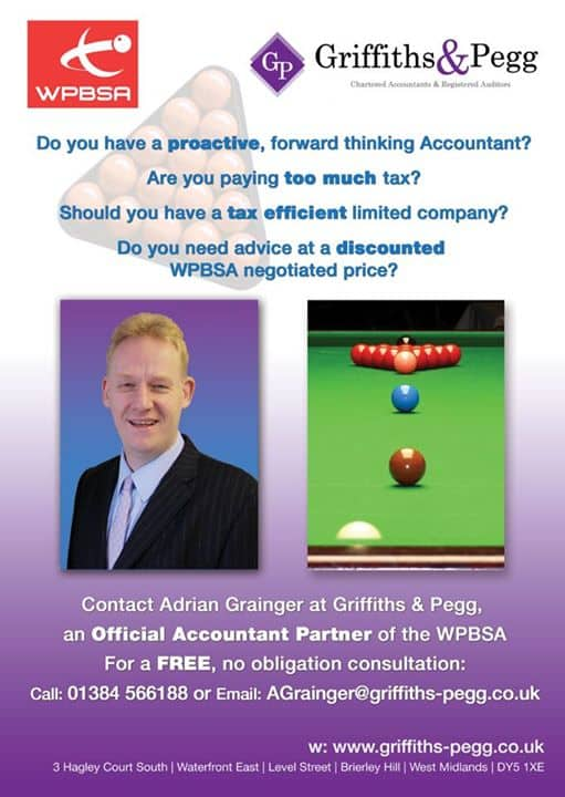 The launch of our tax advice service to all Professional Snooker players